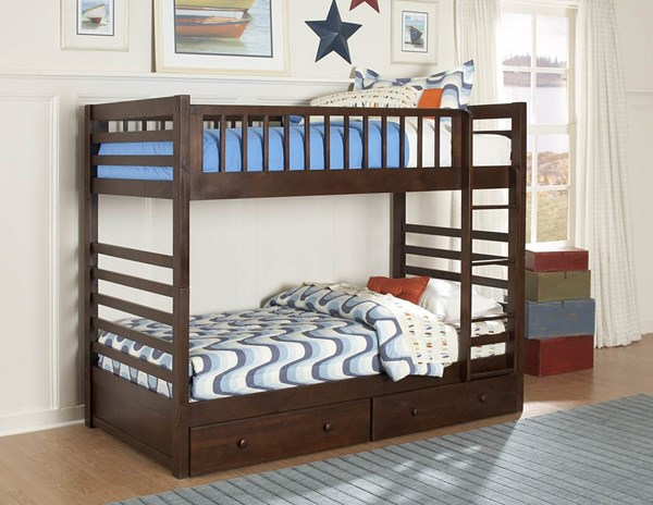 Dreamland Classic Rich Cherry Wood Twin/Twin Bunk Bed w/Storage HE-B33E-BB