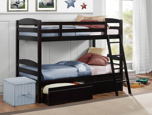 Exuberance Rich Espresso Wood Twin/Twin Bunk Bed w/2 Storage Boxes HE-B45-1-B45-T