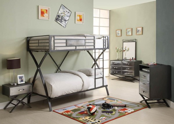 Spaced Out Gray Metal Kids 4pc Bedroom Set W/Twin/Twin Bunk Bed HE-B813T-1-set1