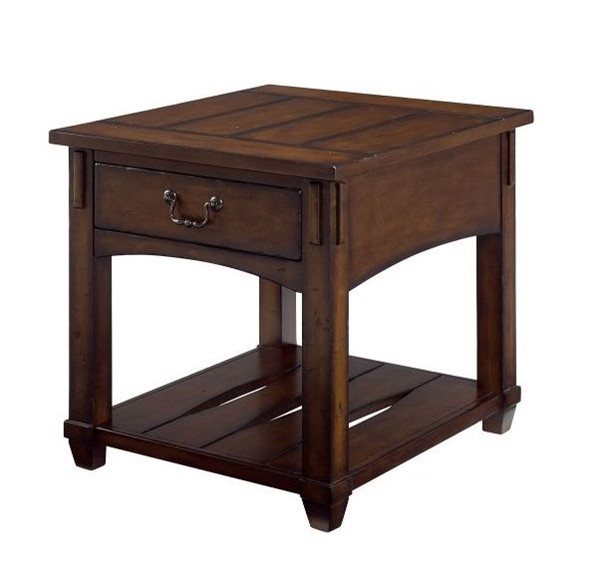 Hammary Tacoma Rustic Brown Rectangular Drawer End Table HAM-049-915