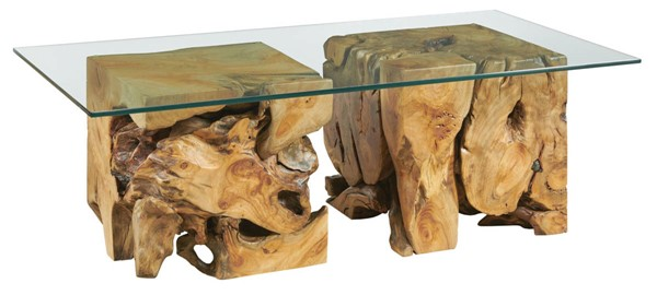 Hammary Hidden Treasures Natural Square Root Table with Clear Glass Top HAM-090-1015R