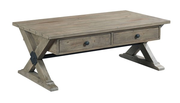 Hammary Reclamation Place Sundried Natural Trestle Rectangular Cocktail Table HAM-523-910