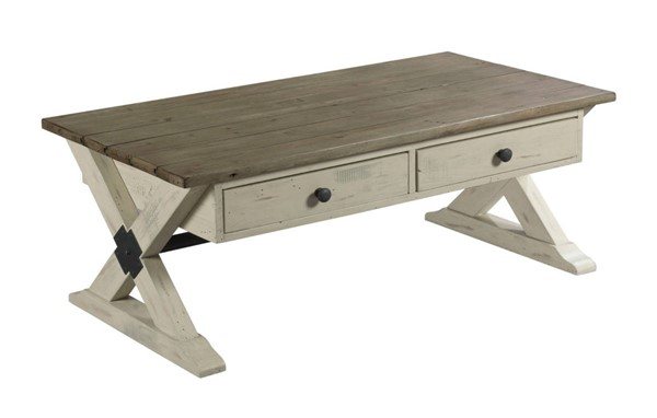 Hammary Reclamation Place Willow Sundried Natural Trestle Rectangular Cocktail Table HAM-523-910W