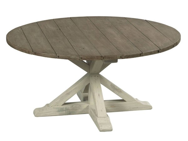 Hammary Reclamation Place Willow Sundried Natural Trestle Round Cocktail Table HAM-523-911W