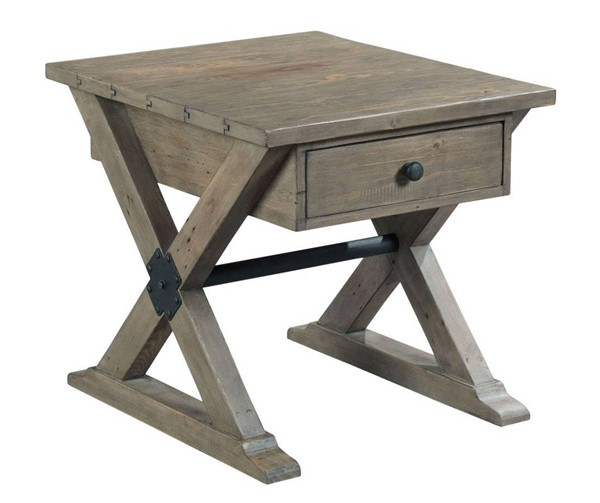 Hammary Reclamation Place Sundried Natural Trestle Drawer End Tables HAM-523-915-ET-VAR