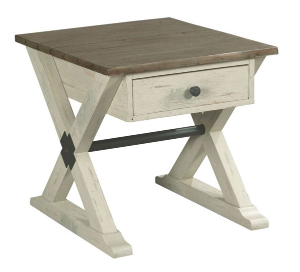 Hammary Reclamation Place Willow Sundried Natural Trestle Drawer End Table HAM-523-915W