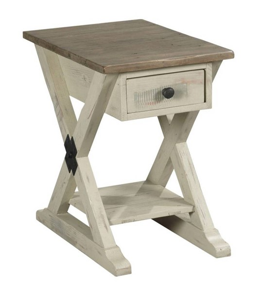 Hammary Reclamation Place Willow Sundried Natural Trestle Chairside Table HAM-523-916W