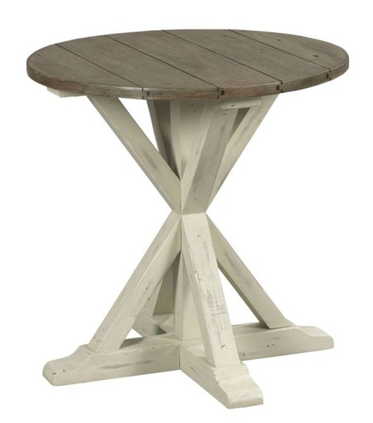 Hammary Reclamation Place Willow Sundried Natural Trestle Round End Table HAM-523-918W