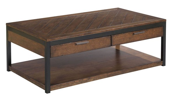 Hammary Franklin Warm Cherry Dark Bronze Rectangular Cocktail Table HAM-529-910