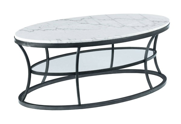 Hammary Impact Bronze Silver White Oval Cocktail Table HAM-576-912