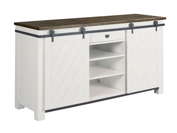 Hammary Junction White Shiplap Sliding Door Media Console HAM-710-586