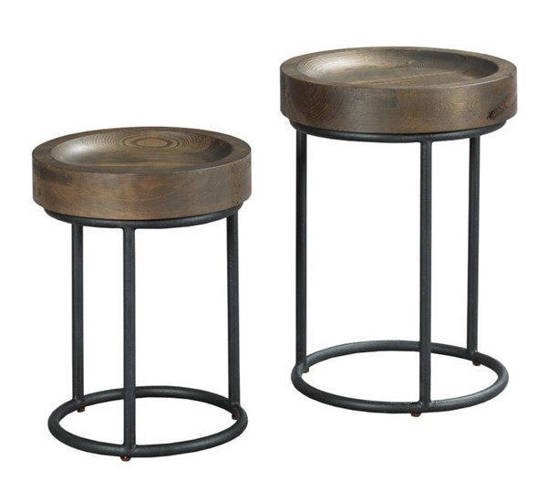 Hammary Junction Hot Coffee Dark Bronze Small and Large Timber Tray Table HAM-710-920