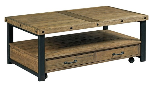 Hammary Workbench Hamilton Rustic Brown Rectangular Cocktail Table HAM-790-910