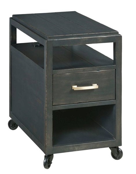 Hammary Marlowe Rustic Charcoal Mobile Charging Chairside Table HAM-795-916
