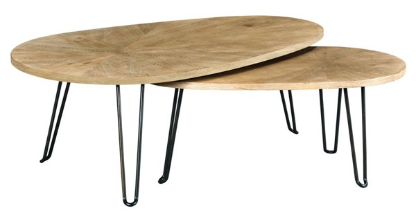 Hammary Oblique Wirebrushed Natural Bunching Cocktail Table HAM-834-913