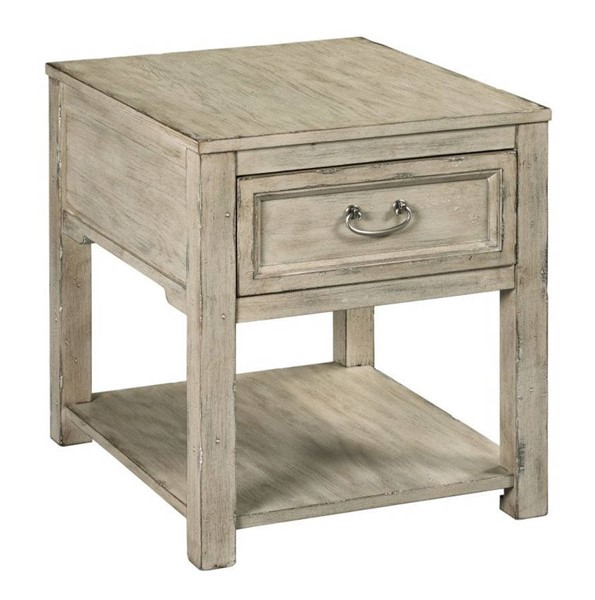 Hammary Papillon Weathered White Rectangular Drawer End Table HAM-865-915