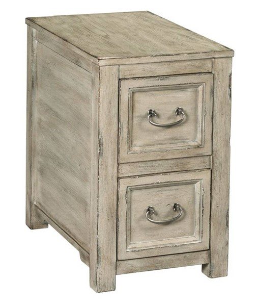 Hammary Papillon Weathered White Charging Chairside Table HAM-865-916