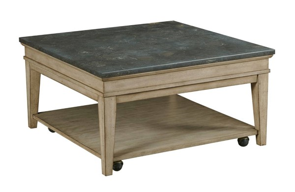 Hammary Riverstone Hamilton Weathered Distressed Beige Square Cocktail Table HAM-966-912