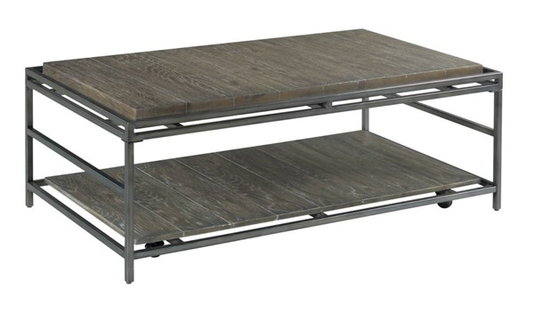 Hammary Farrell Saddle Brown Pewter Rectangular Coffee Table HAM-975-910