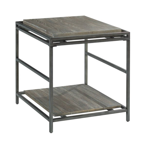 Hammary Farrell Saddle Brown Pewter Rectangular End Table HAM-975-915