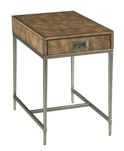 Hammary Carlton Chestnut Brown Silver Chairside Table HAM-986-916