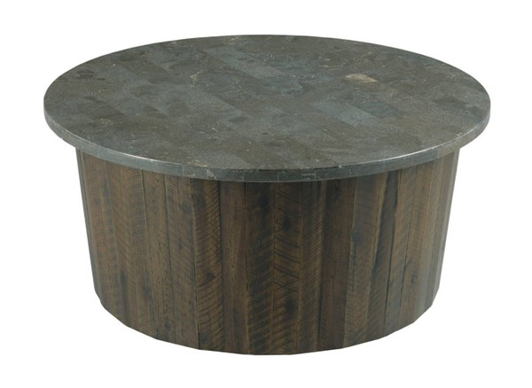 Hammary Hidden Treasures Blue Brown Round Coffee Table HAM-090-1029