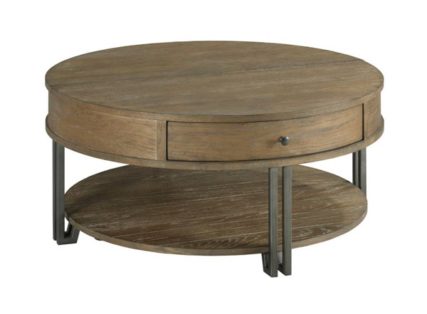 Hammary Saddletree Hamilton Cinnamon Round Lift Top Coffee Table HAM-954-911