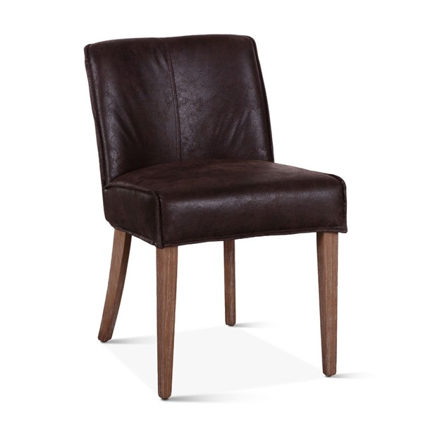 2 World Interiors Avery Dark Brown Leather Side Chairs WIF-ZWAY-DBSC-2X
