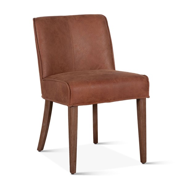 2 World Interiors Avery Brown Leather Side Chairs WIF-ZWAY-TNSC-2X