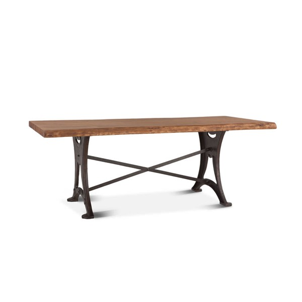 World Interiors Blayne Brown 72 Inch Dining Table with Antique Zinc Base WIF-ZWBADT72R