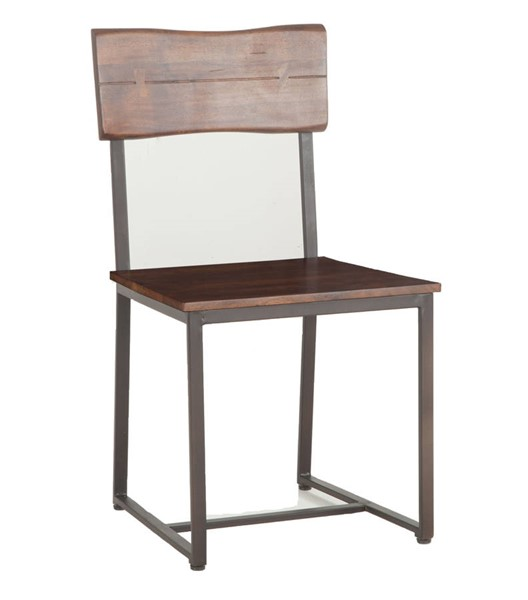 2 World Interiors Belfrie Brown Wood Live Edge Dining Chairs WIF-ZWBF189-2X