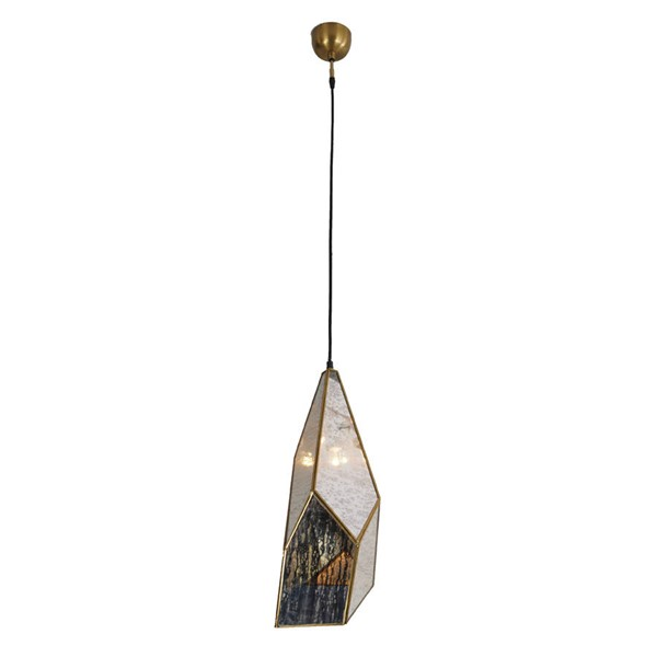 World Interiors Bali Boho Glass Brass Teardrop Hanging Pendant Light WIF-ZWBLITD-3