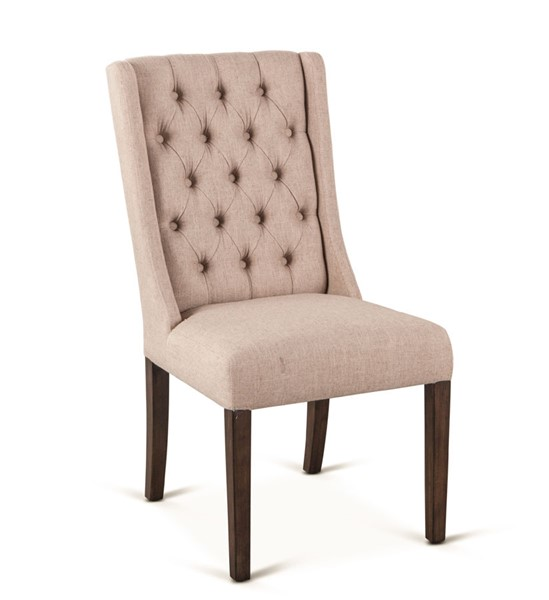 2 World Interiors Chloe Light Brown Linen Dining Chairs WIF-ZWCL82-5LWT-2X