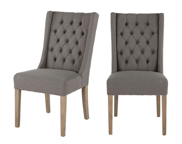 2 World Interiors Chloe Light Gray Linen Dining Chairs WIF-ZWCL82-OWGWT-2X