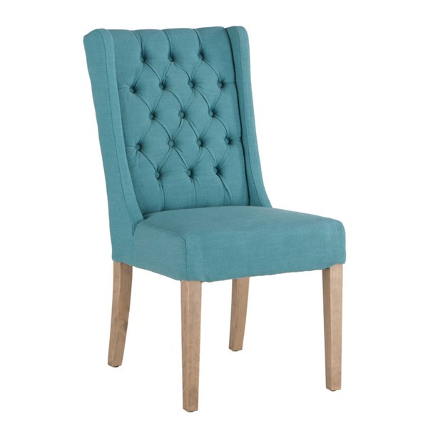 2 World Interiors Chloe Teal Dining Chairs with Napoleon Legs WIF-ZWCL82-VS10NP-2X