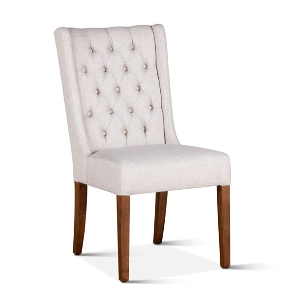 2 World Interiors Chloe Off White Linen Dining Chairs WIF-ZWCLEC-NT-2X
