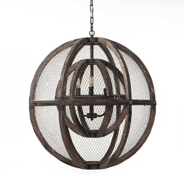 World Interiors Element Industrial Globe Ceiling Light WIF-ZWGEC306-3