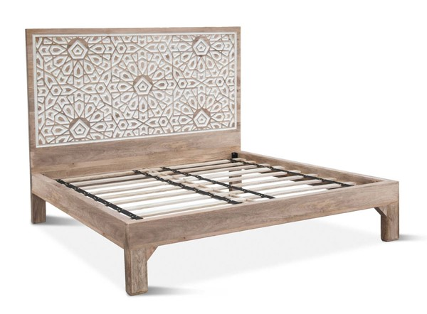World Interiors Haveli White Geometric Carved King Bed WIF-ZWHAPBKNW