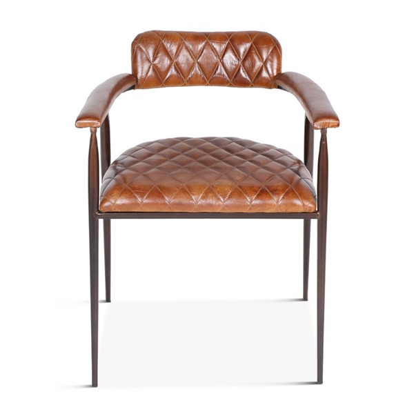 World Interiors Hudson Brown Leather Diamond Stitched Armchair WIF-ZWHDSCELAC