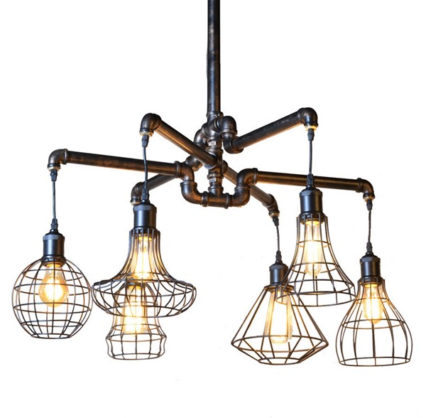 World Interiors Element Industrial Pipe Ceiling Light WIF-ZWLMCL15AVG