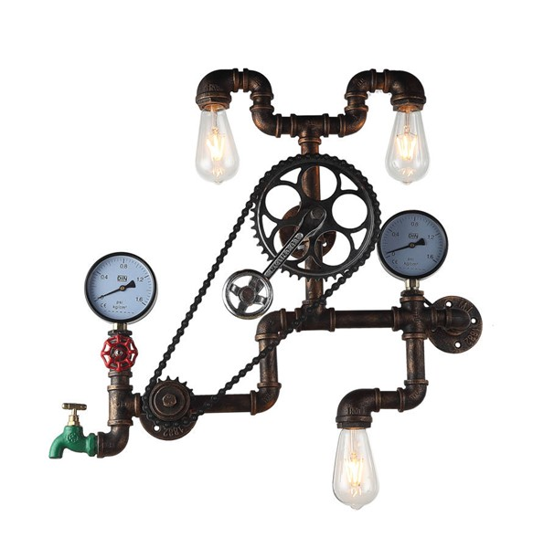 World Interiors Element Industrial Pipe and Gauge Wall Sconce WIF-ZWLMWL4AVG