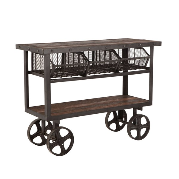 World Interiors Paxton Gray 48 Inch Reclaimed Teak Utility Cart WIF-ZWPX48180