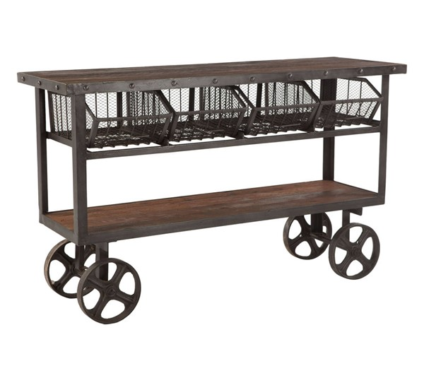 World Interiors Paxton Gray 60 Inch Reclaimed Teak Utility Cart WIF-ZWPX60180
