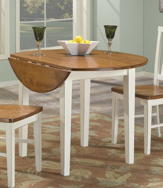 Intercon Arlington White Java 42 Drop Leaf Dining Table INT-AR-TA-4242D-WHJ-C