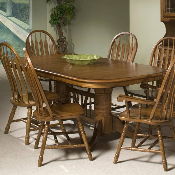 Intercon Classic Oak Trestle Dining Tables INT-CO-TA-I4296-C-DT-VAR