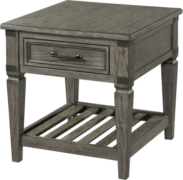 Intercon Foundry Brushed Pewter End Table INT-FR-TA-2426-PEW-C
