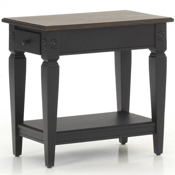 Intercon Glennwood Black Charcoal Chairside Table INT-GW-TA-1626-RBC-C