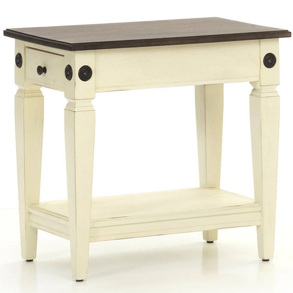 Intercon Glennwood White Charcoal Chairside Table INT-GW-TA-1626-RWC-C