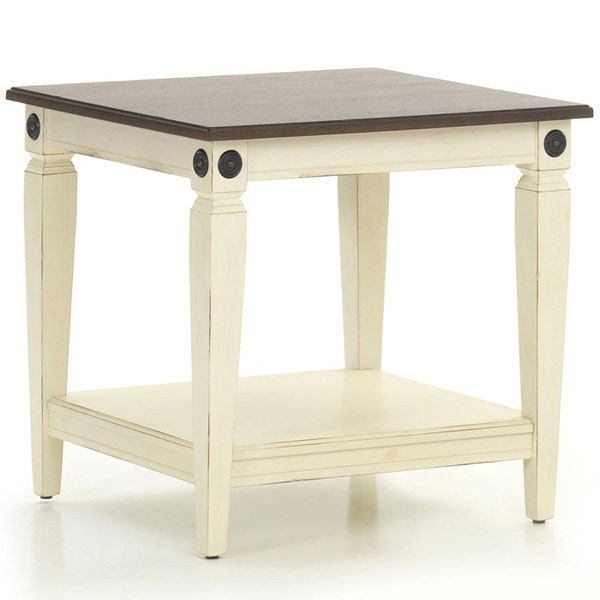 Intercon Glennwood White Charcoal End Table INT-GW-TA-2426-RWC-C