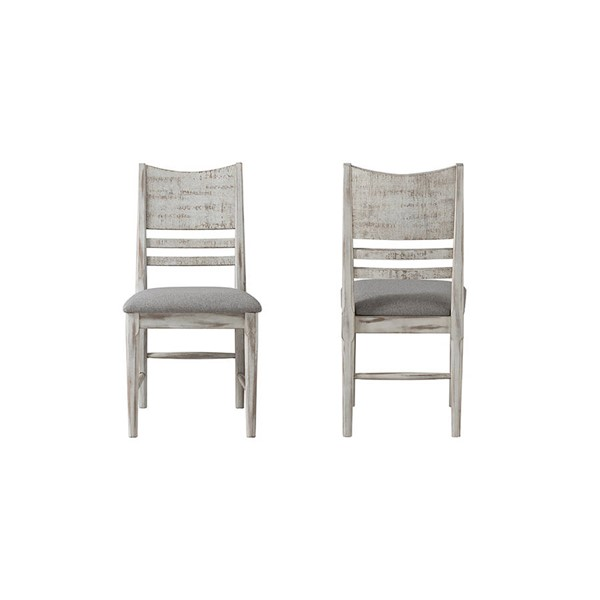 2 Intercon Modern Rustic Weathered White Panel Back Side Chairs INT-MR-CH-530C-WWH-RTA